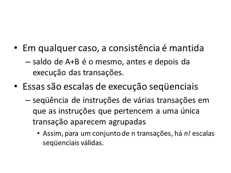 • Em qualquer caso, a consistência é mantida – saldo de A+B é o mesmo, antes e depois da execução das transações. • Essas são escalas de execução seqü