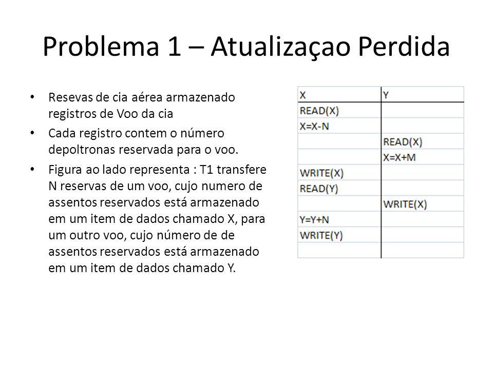 Problema 1 – Atualizaçao Perdida • Resevas de cia aérea armazenado registros de Voo da cia • Cada registro contem o número depoltronas reservada para