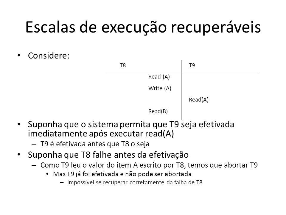 Escalas de execução recuperáveis • Considere: • Suponha que o sistema permita que T9 seja efetivada imediatamente após executar read(A) – T9 é efetiva