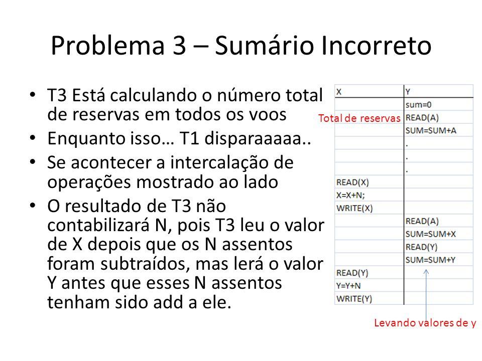 Problema 3 – Sumário Incorreto • T3 Está calculando o número total de reservas em todos os voos • Enquanto isso… T1 disparaaaaa.. • Se acontecer a int
