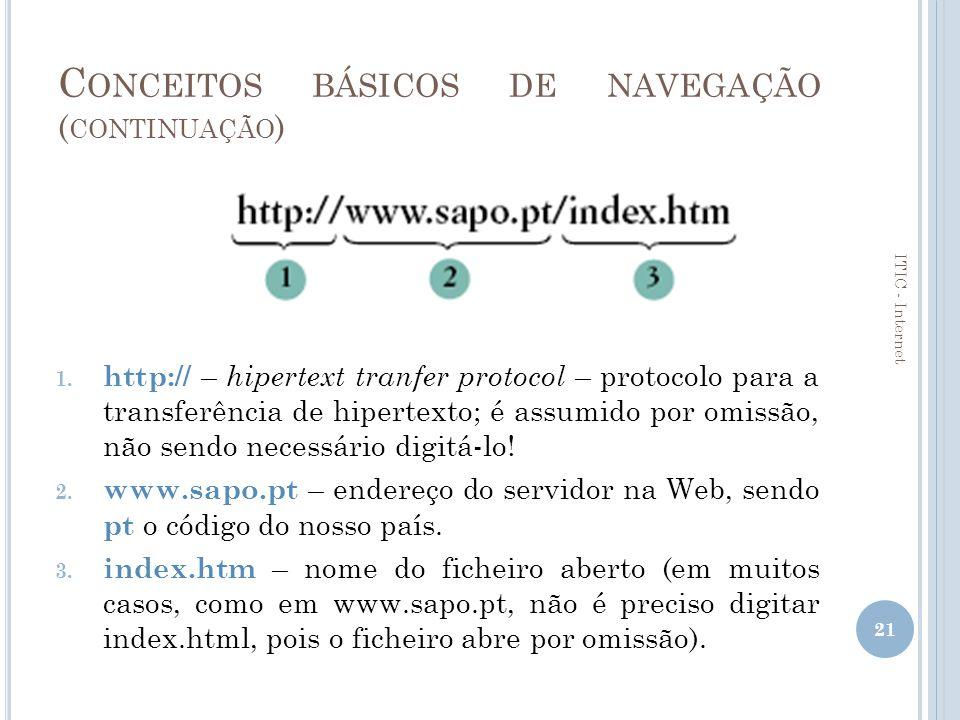 C ONCEITOS BÁSICOS DE NAVEGAÇÃO – E NCONTRAR INFORMAÇÃO Assistente de procura do Internet Explorer Motores de Pesquisa Altavistawww.altavista.com Googlewww.google.com Hotbotwww.hotbot.com Lycoswww.lycos.com Yahoowww.yahoo.com Sapowww.sapo.pt Clixwww.clix.pt AEIOUwww.aeiou.pt 22 ITIC - Internet