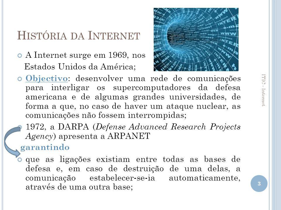 H ISTÓRIA DA I NTERNET ( CONTINUAÇÃO ) Início dos anos 80: a ARPANET adopta um conjunto de protocolos – TCP/IP – que permitem que universidades, centros de investigação e outros departamentos militares e governamentais americanos criem as suas próprias redes e se liguem também à ARPANET.