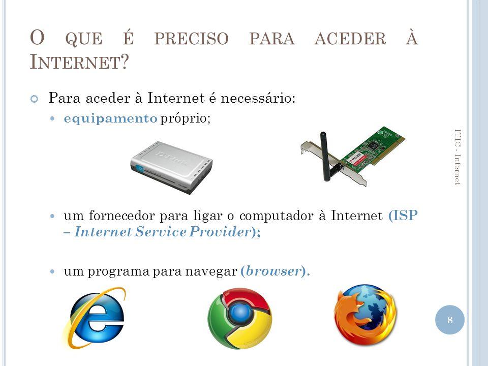 S ERVIÇOS BÁSICOS DA I NTERNET Correio electrónico (e-mail); World Wide Web (WWW); Transferência de ficheiros (FTP); Grupos de discussão ( Newsgroups ); Listas de correio electrónico; Comunicação em tempo real (MSN); Videoconferência.