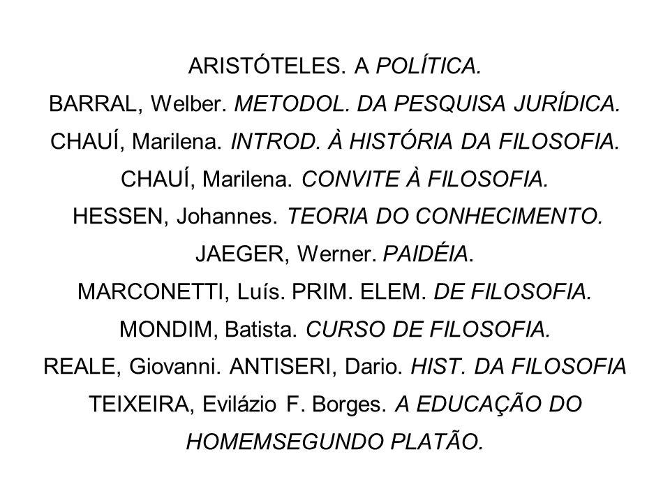 ARISTÓTELES. A POLÍTICA. BARRAL, Welber. METODOL. DA PESQUISA JURÍDICA. CHAUÍ, Marilena. INTROD. À HISTÓRIA DA FILOSOFIA. CHAUÍ, Marilena. CONVITE À F