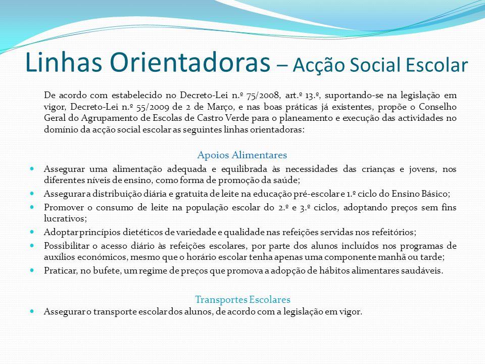 Linhas Orientadoras – Acção Social Escolar De acordo com estabelecido no Decreto-Lei n.º 75/2008, art.º 13.º, suportando-se na legislação em vigor, De
