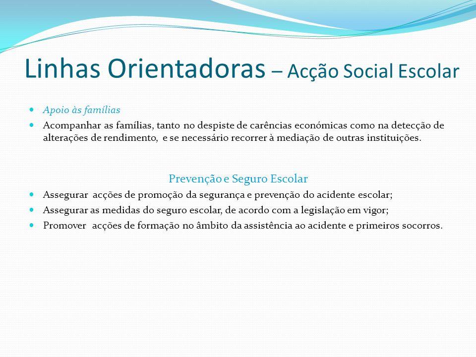 Linhas Orientadoras – Acção Social Escolar  Apoio às famílias  Acompanhar as famílias, tanto no despiste de carências económicas como na detecção de
