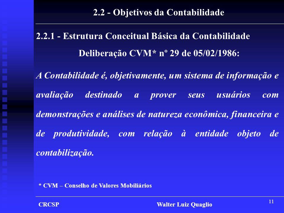 11 CRCSP Walter Luiz Quaglio 2.2 - Objetivos da Contabilidade 2.2.1 - Estrutura Conceitual Básica da Contabilidade Deliberação CVM* nº 29 de 05/02/198