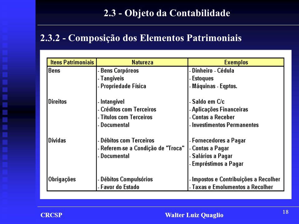18 2.3.2 - Composição dos Elementos Patrimoniais 2.3 - Objeto da Contabilidade CRCSP Walter Luiz Quaglio