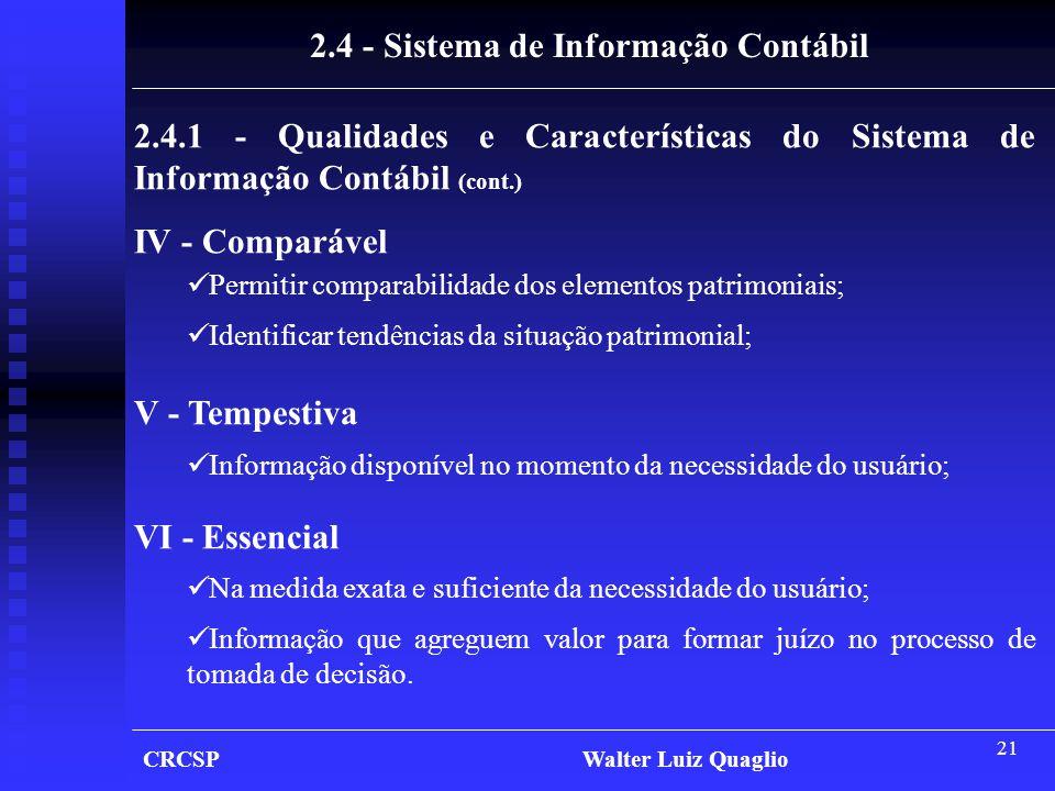 21 CRCSP Walter Luiz Quaglio 2.4.1 - Qualidades e Características do Sistema de Informação Contábil (cont.) IV - Comparável  Permitir comparabilidade
