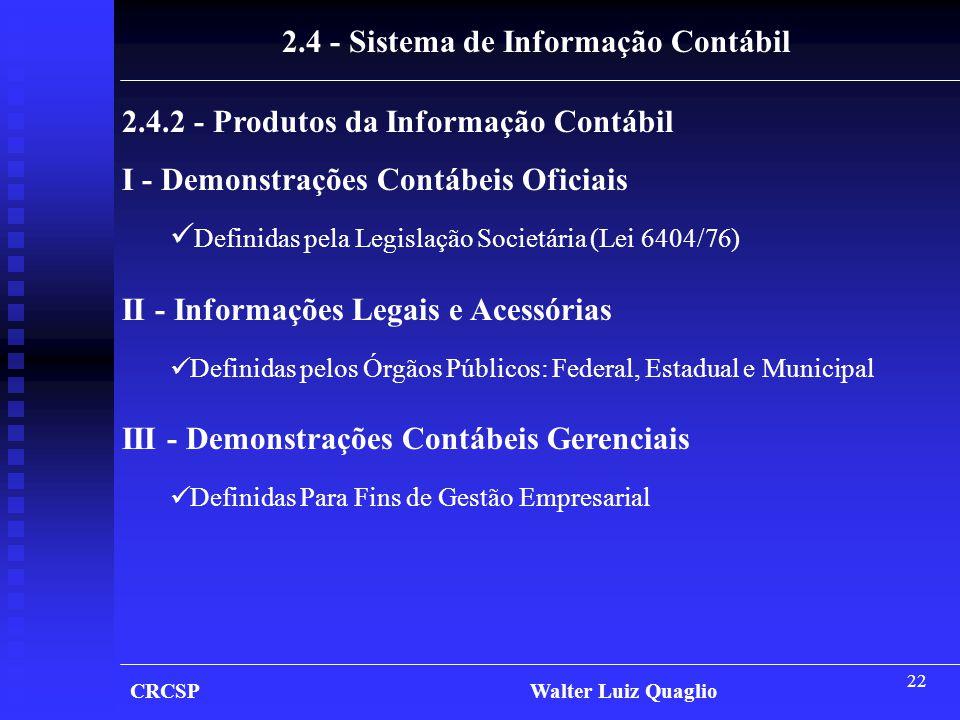 22 CRCSP Walter Luiz Quaglio 2.4 - Sistema de Informação Contábil 2.4.2 - Produtos da Informação Contábil I - Demonstrações Contábeis Oficiais  Defin