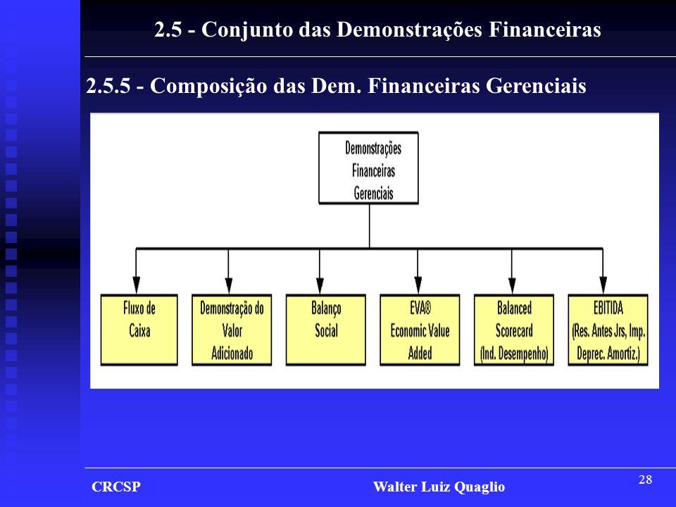 28 CRCSP Walter Luiz Quaglio 2.5 - Conjunto das Demonstrações Financeiras 2.5.5 - Composição das Dem. Financeiras Gerenciais