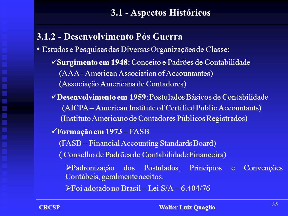 35 CRCSP Walter Luiz Quaglio 3.1 - Aspectos Históricos 3.1.2 - Desenvolvimento Pós Guerra • Estudos e Pesquisas das Diversas Organizações de Classe: 