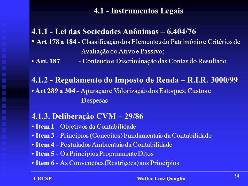 54 CRCSP Walter Luiz Quaglio 4.1 - Instrumentos Legais 4.1.1 - Lei das Sociedades Anônimas – 6.404/76 • Art 178 a 184 - Classificação dos Elementos do
