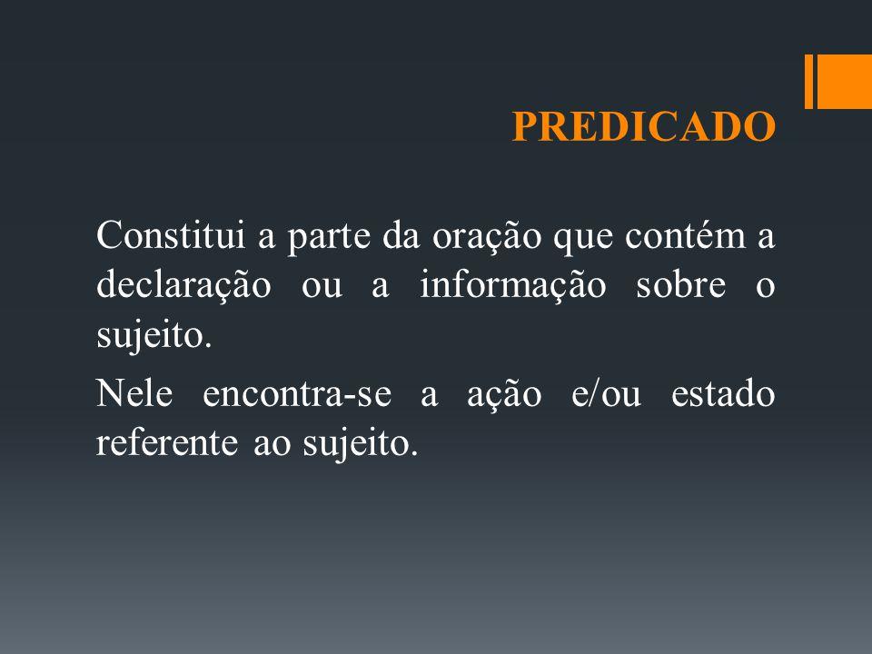 PREDICADO Antes de estudar os tipos de predicado, é importante conhecer os tipos de predicação dos verbos.