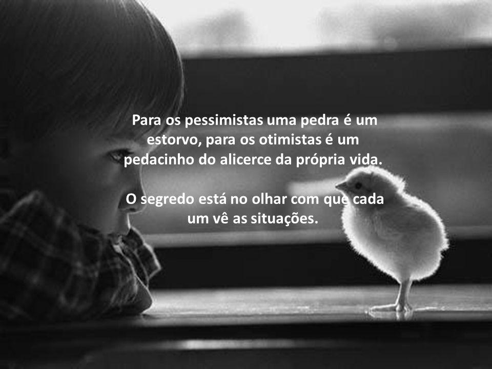 Para os pessimistas uma pedra é um estorvo, para os otimistas é um pedacinho do alicerce da própria vida.