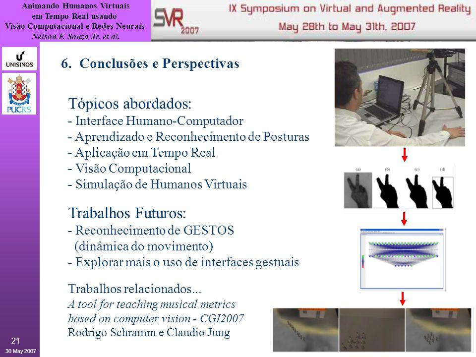 Animando Humanos Virtuais em Tempo-Real usando Visão Computacional e Redes Neurais Nelson F. Souza Jr. et al. 30 May 2007 21 6. Conclusões e Perspecti