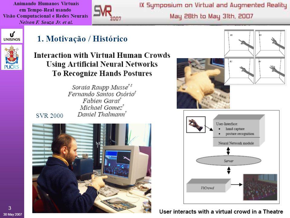 Animando Humanos Virtuais em Tempo-Real usando Visão Computacional e Redes Neurais Nelson F. Souza Jr. et al. 30 May 2007 3 1. Motivação / Histórico S