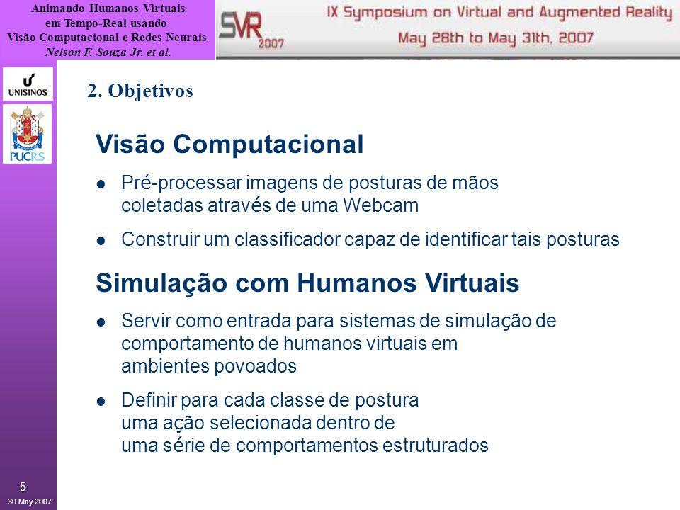 Animando Humanos Virtuais em Tempo-Real usando Visão Computacional e Redes Neurais Nelson F. Souza Jr. et al. 30 May 2007 5 2. Objetivos Visão Computa