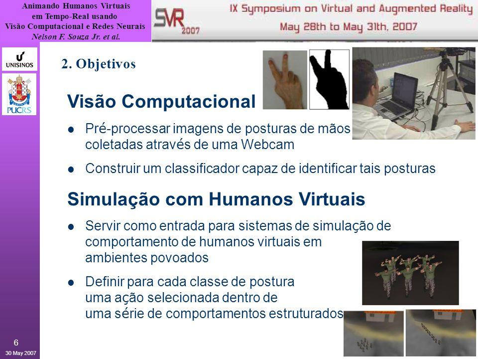 Animando Humanos Virtuais em Tempo-Real usando Visão Computacional e Redes Neurais Nelson F. Souza Jr. et al. 30 May 2007 6 2. Objetivos Visão Computa