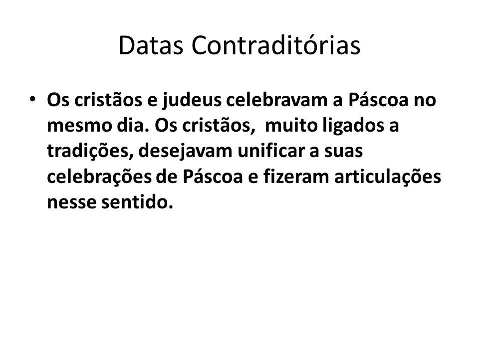 Datas Contraditórias • As Igrejas (ortodoxa e romana) aceitaram mudar o dia da Páscoa,mas a data permaneceu aberta.