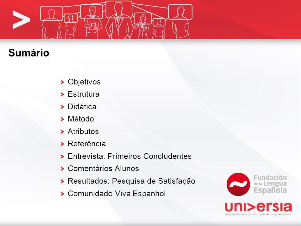 Sumário Objetivos Estrutura Didática Método Atributos Referência Entrevista: Primeiros Concludentes Comentários Alunos Resultados: Pesquisa de Satisfação Comunidade Viva Espanhol