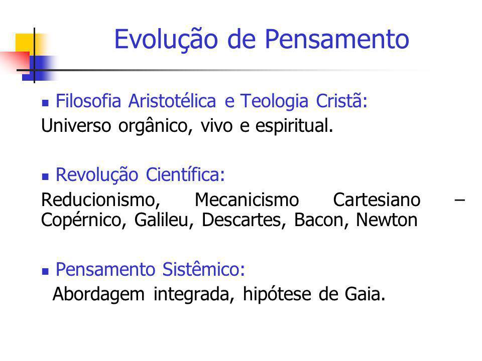 Evolução de Pensamento  Filosofia Aristotélica e Teologia Cristã: Universo orgânico, vivo e espiritual.  Revolução Científica: Reducionismo, Mecanic