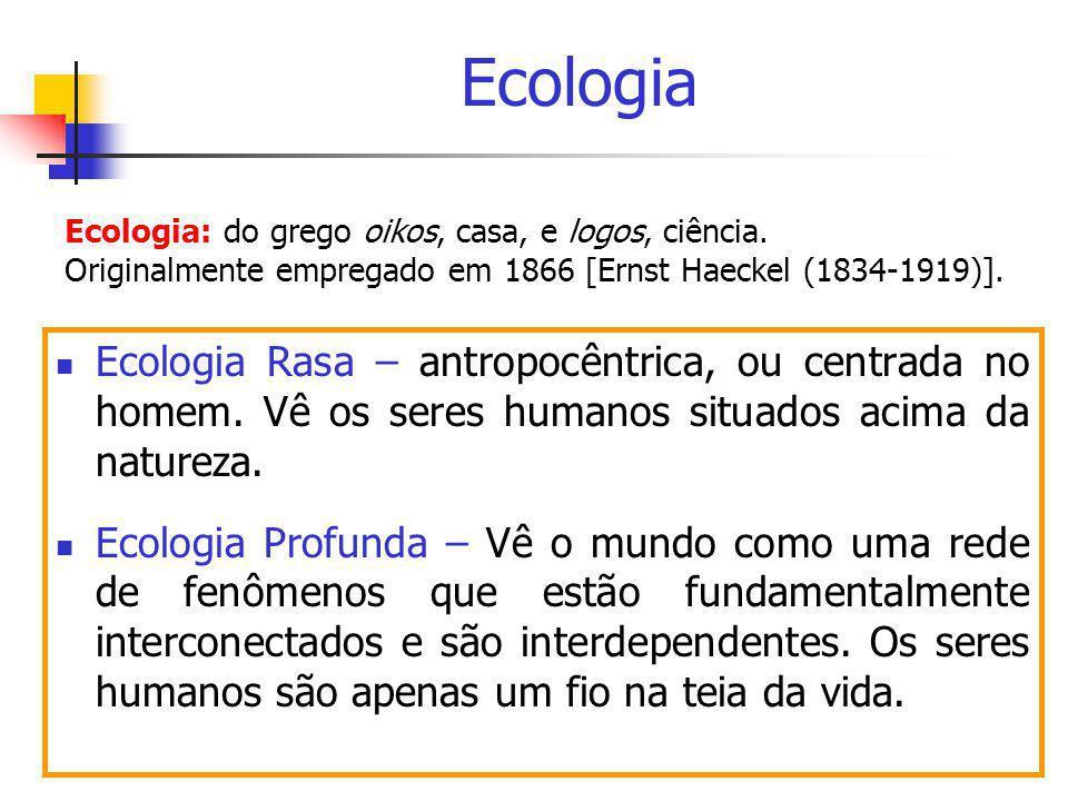 Ecologia  Ecologia Rasa – antropocêntrica, ou centrada no homem. Vê os seres humanos situados acima da natureza.  Ecologia Profunda – Vê o mundo com