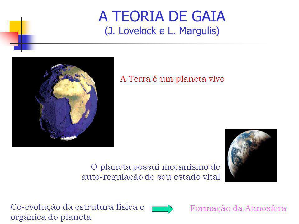 A TEORIA DE GAIA (J. Lovelock e L. Margulis) A Terra é um planeta vivo O planeta possui mecanismo de auto-regulação de seu estado vital Co-evolução da