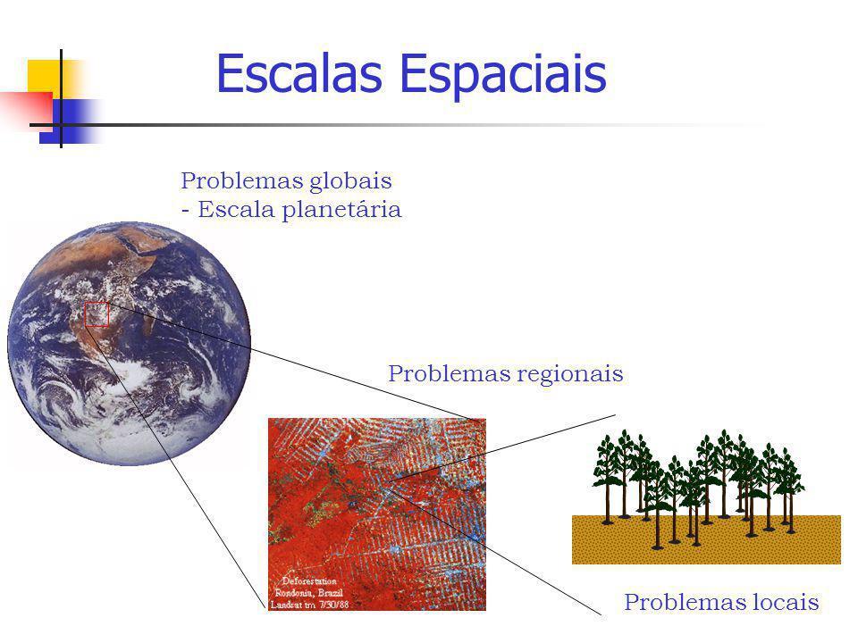 Problemas globais - Escala planetária Problemas regionais Problemas locais Escalas Espaciais