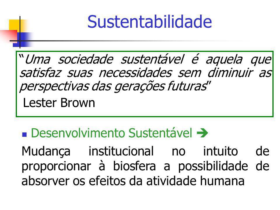 """Sustentabilidade """"Uma sociedade sustentável é aquela que satisfaz suas necessidades sem diminuir as perspectivas das gerações futuras"""" Lester Brown """