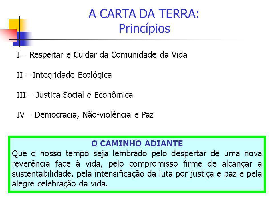 A CARTA DA TERRA: Princípios I – Respeitar e Cuidar da Comunidade da Vida II – Integridade Ecológica III – Justiça Social e Econômica IV – Democracia,
