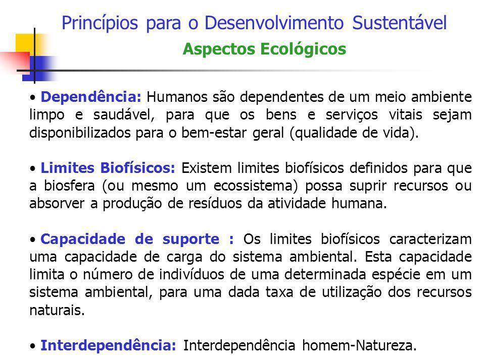 Princípios para o Desenvolvimento Sustentável • Dependência: Humanos são dependentes de um meio ambiente limpo e saudável, para que os bens e serviços