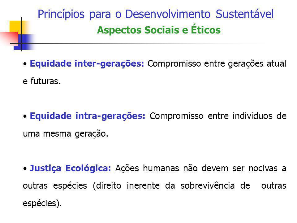 Princípios para o Desenvolvimento Sustentável Aspectos Sociais e Éticos • Equidade inter-gerações: Compromisso entre gerações atual e futuras. • Equid