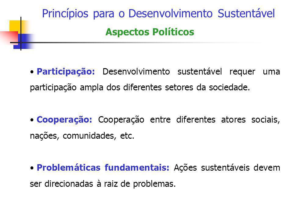 Princípios para o Desenvolvimento Sustentável Aspectos Políticos • Participação: Desenvolvimento sustentável requer uma participação ampla dos diferen