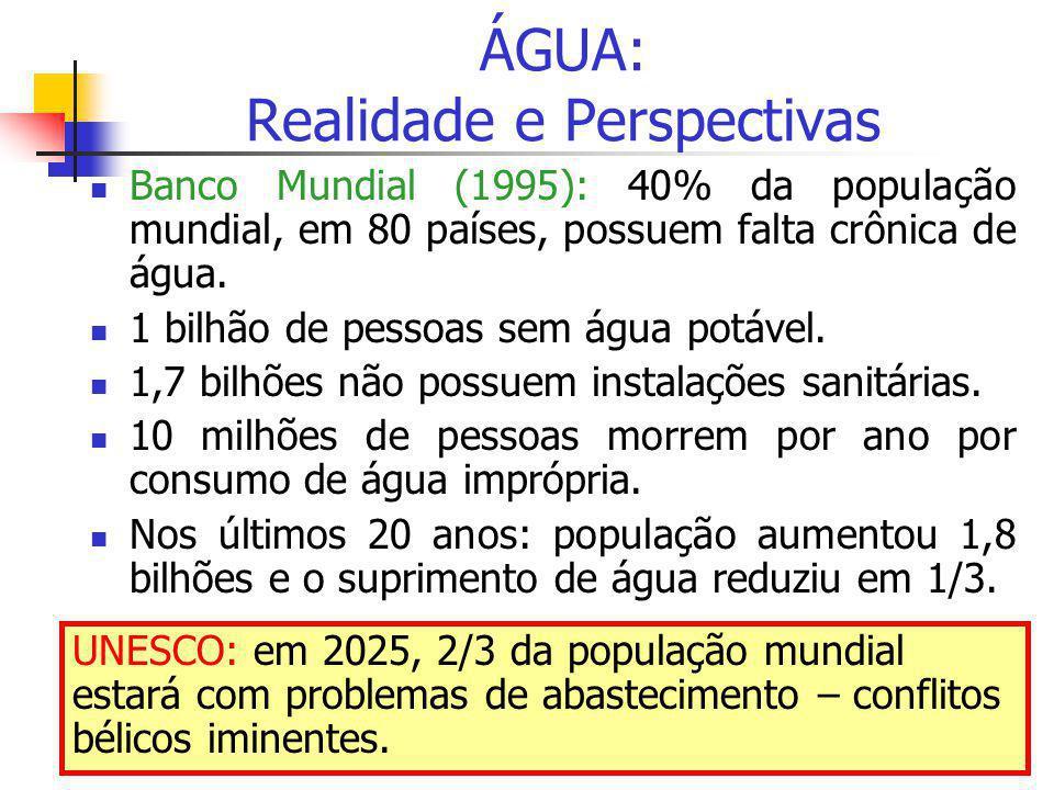ÁGUA: Realidade e Perspectivas  Banco Mundial (1995): 40% da população mundial, em 80 países, possuem falta crônica de água.  1 bilhão de pessoas se