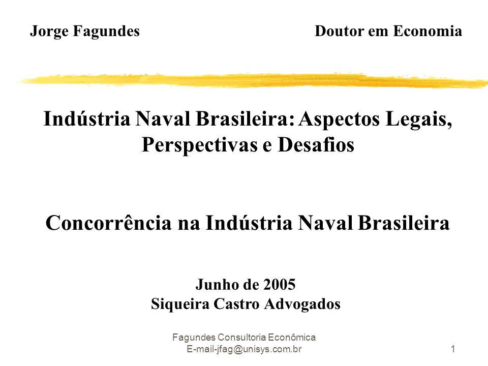 Fagundes Consultoria Econômica E-mail-jfag@unisys.com.br1 Indústria Naval Brasileira: Aspectos Legais, Perspectivas e Desafios Concorrência na Indústria Naval Brasileira Jorge Fagundes Doutor em Economia Junho de 2005 Siqueira Castro Advogados