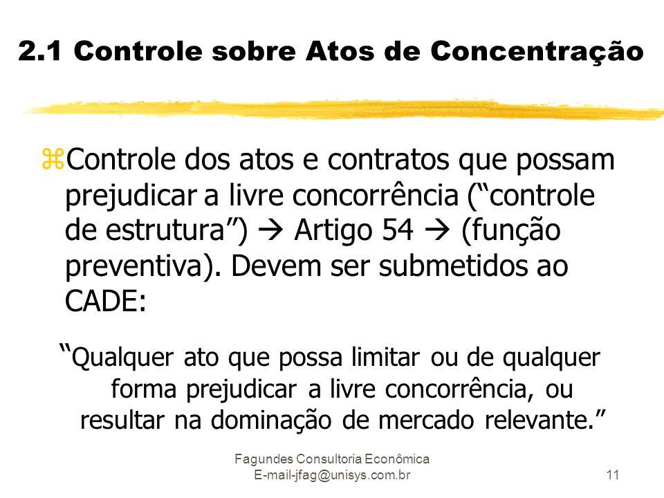 Fagundes Consultoria Econômica E-mail-jfag@unisys.com.br11 2.1 Controle sobre Atos de Concentração zControle dos atos e contratos que possam prejudicar a livre concorrência ( controle de estrutura )  Artigo 54  (função preventiva).