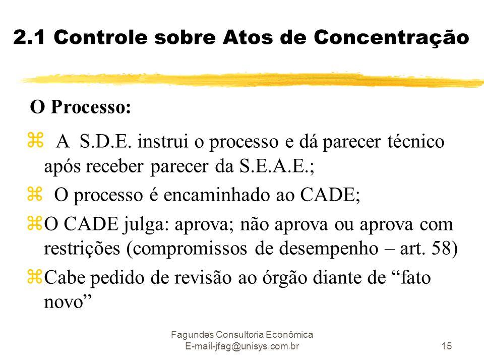 Fagundes Consultoria Econômica E-mail-jfag@unisys.com.br15 O Processo:  A S.D.E. instrui o processo e dá parecer técnico após receber parecer da S.E.