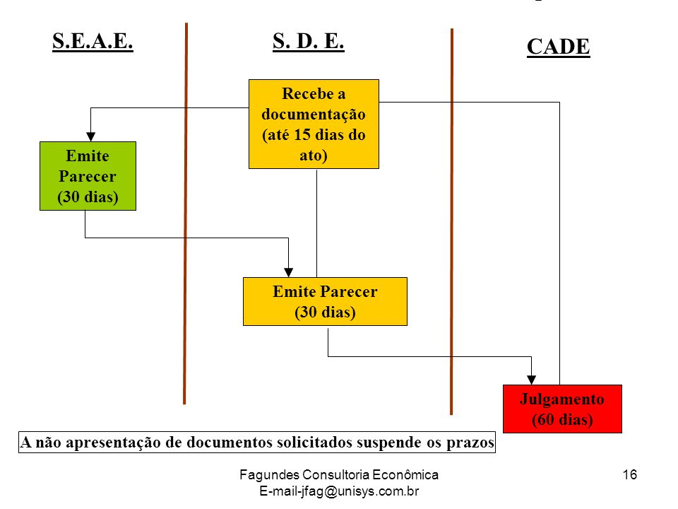 Fagundes Consultoria Econômica E-mail-jfag@unisys.com.br 16 Recebe a documentação (até 15 dias do ato) S. D. E. CADE S.E.A.E. Emite Parecer (30 dias)
