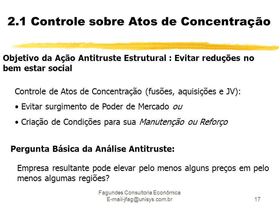 Fagundes Consultoria Econômica E-mail-jfag@unisys.com.br17 Objetivo da Ação Antitruste Estrutural : Evitar reduções no bem estar social Controle de At