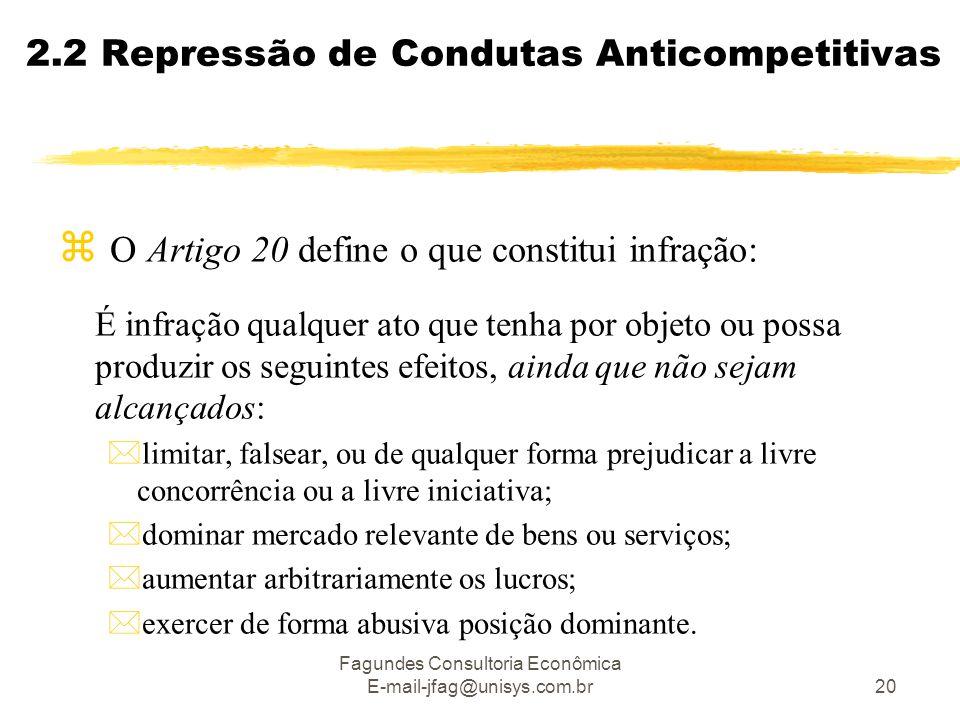 Fagundes Consultoria Econômica E-mail-jfag@unisys.com.br20 2.2 Repressão de Condutas Anticompetitivas  O Artigo 20 define o que constitui infração: É