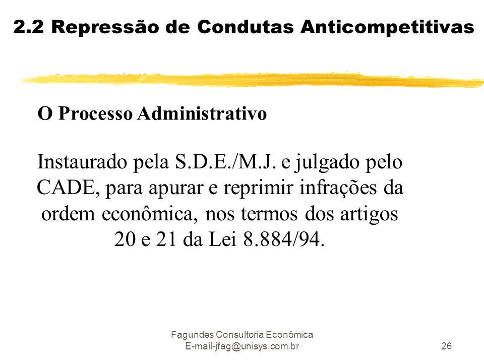 Fagundes Consultoria Econômica E-mail-jfag@unisys.com.br26 2.2 Repressão de Condutas Anticompetitivas Instaurado pela S.D.E./M.J. e julgado pelo CADE,