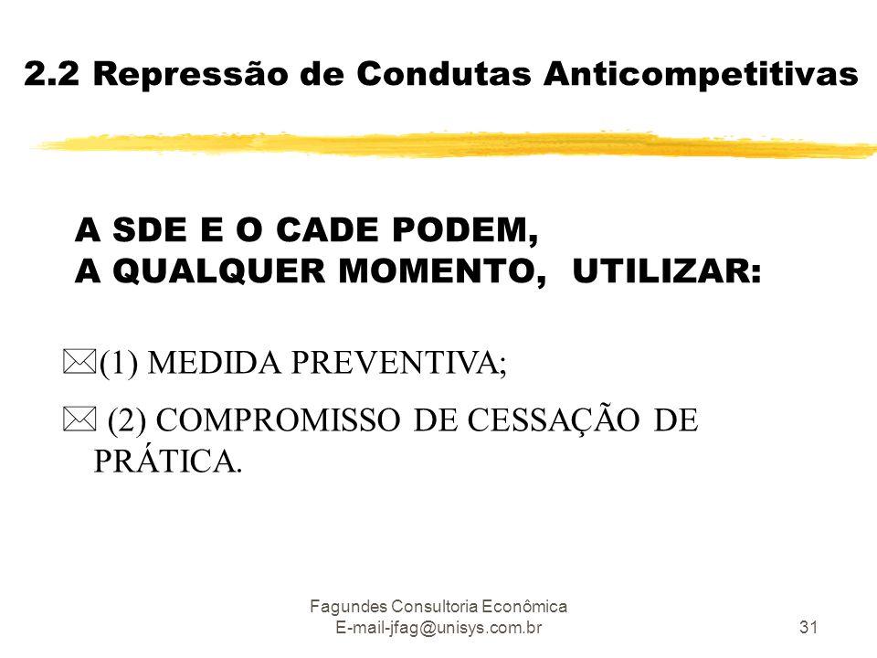 Fagundes Consultoria Econômica E-mail-jfag@unisys.com.br31 A SDE E O CADE PODEM, A QUALQUER MOMENTO, UTILIZAR:  (1) MEDIDA PREVENTIVA;  (2) COMPROMISSO DE CESSAÇÃO DE PRÁTICA.