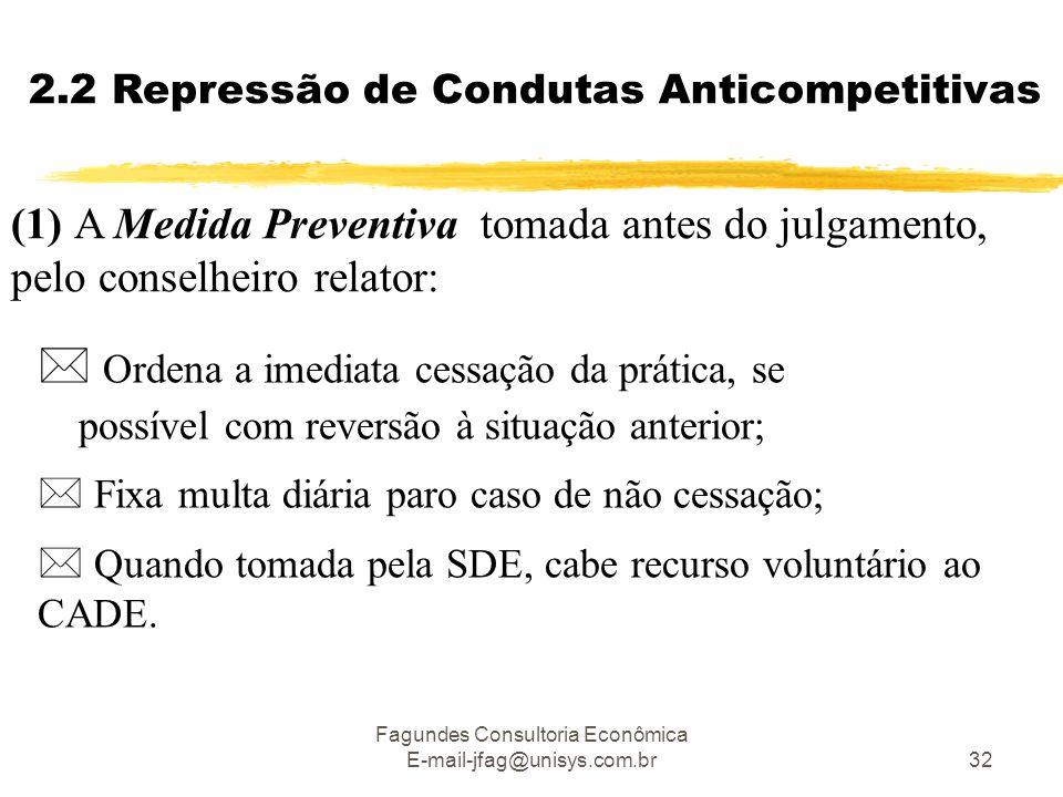 Fagundes Consultoria Econômica E-mail-jfag@unisys.com.br32 2.2 Repressão de Condutas Anticompetitivas (1) A Medida Preventiva tomada antes do julgamento, pelo conselheiro relator:  Ordena a imediata cessação da prática, se possível com reversão à situação anterior;  Fixa multa diária paro caso de não cessação;  Quando tomada pela SDE, cabe recurso voluntário ao CADE.