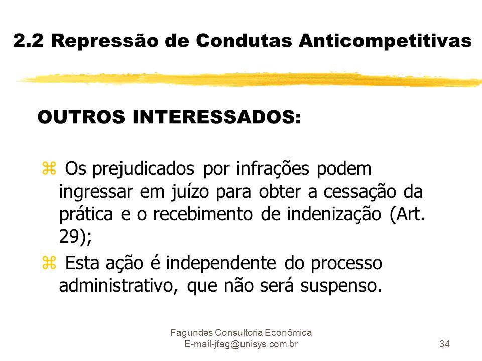 Fagundes Consultoria Econômica E-mail-jfag@unisys.com.br34 2.2 Repressão de Condutas Anticompetitivas OUTROS INTERESSADOS: z Os prejudicados por infra