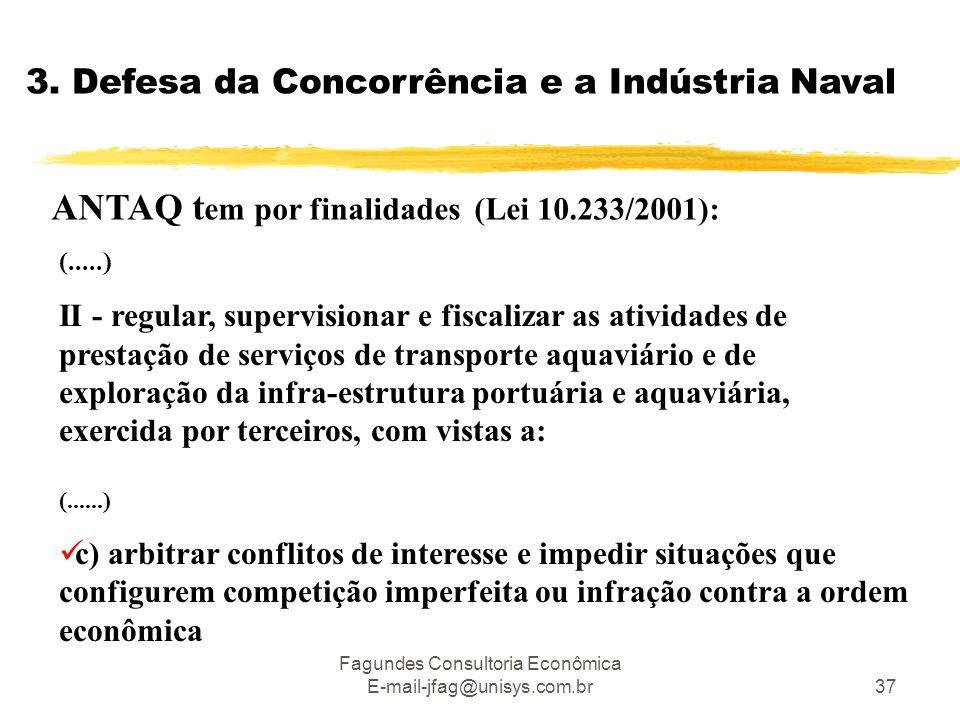 Fagundes Consultoria Econômica E-mail-jfag@unisys.com.br37 3. Defesa da Concorrência e a Indústria Naval ANTAQ t em por finalidades (Lei 10.233/2001):