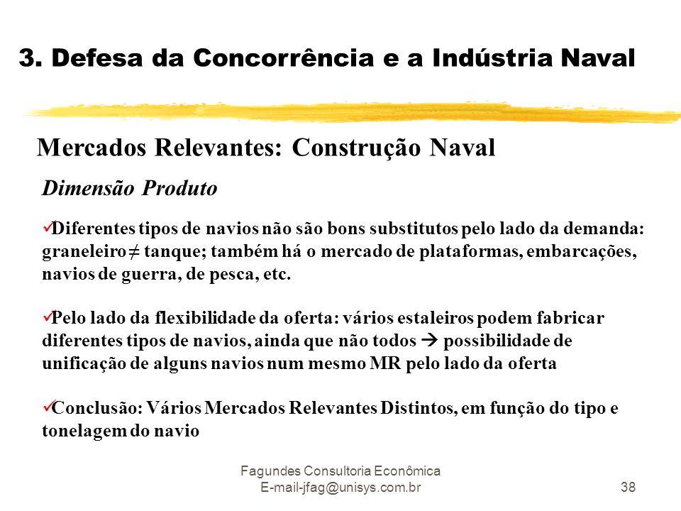 Fagundes Consultoria Econômica E-mail-jfag@unisys.com.br38 3. Defesa da Concorrência e a Indústria Naval Mercados Relevantes: Construção Naval  Difer