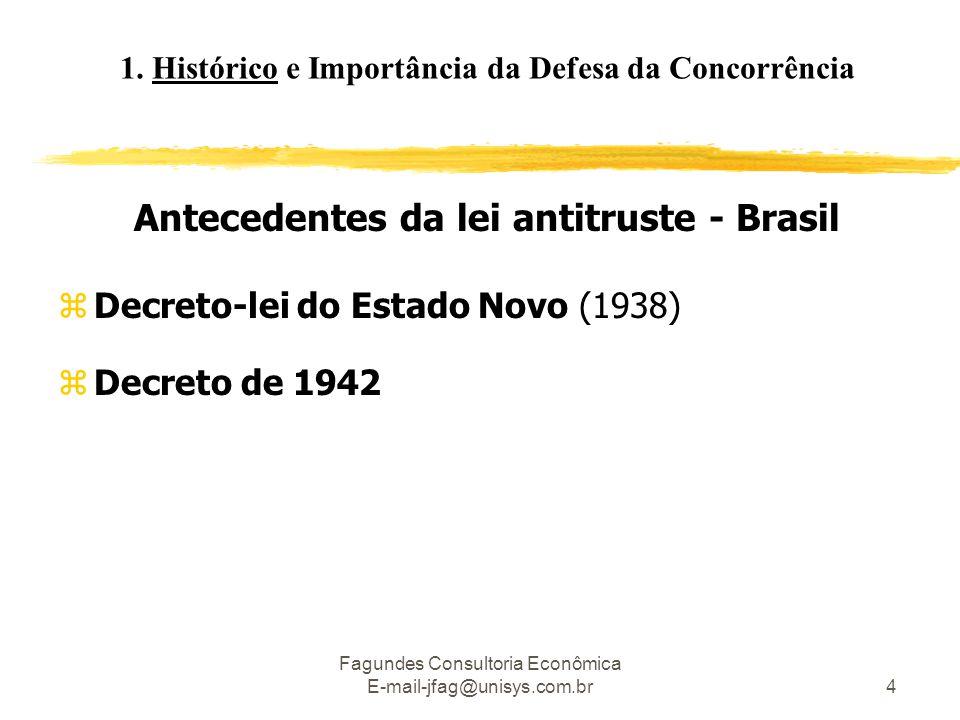 Fagundes Consultoria Econômica E-mail-jfag@unisys.com.br4 Antecedentes da lei antitruste - Brasil zDecreto-lei do Estado Novo (1938) zDecreto de 1942