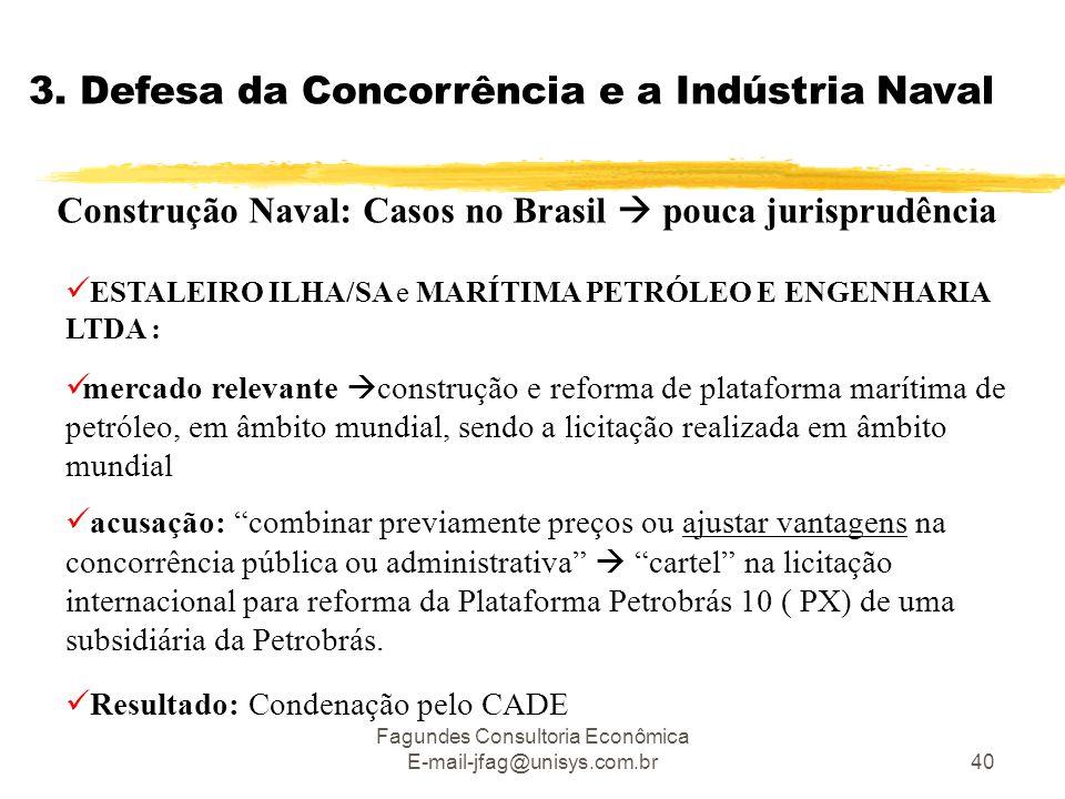 Fagundes Consultoria Econômica E-mail-jfag@unisys.com.br40 3. Defesa da Concorrência e a Indústria Naval Construção Naval: Casos no Brasil  pouca jur