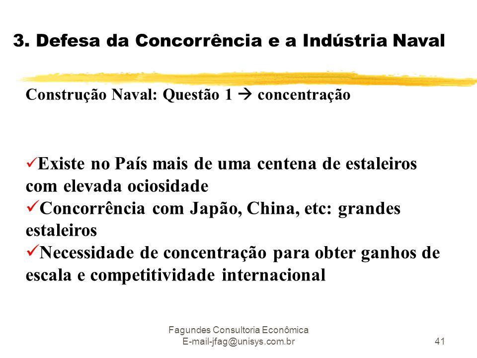 Fagundes Consultoria Econômica E-mail-jfag@unisys.com.br41 3. Defesa da Concorrência e a Indústria Naval Construção Naval: Questão 1  concentração 